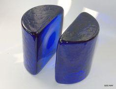 BLENKO Art Glass Cobalt Blue Half Moon Bookends MID CENTURY Modern Art Glass #MidCenturyModern #BlankoGlass