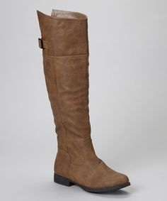Take a look at this Cognac Land 57 Buckle Knee High Boot on zulily today!
