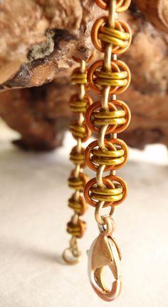 Chain Maille Bracelet Barrel Weave Orange Yellow by cutterstone, $18.00