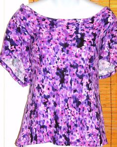 Plus Size Nicole Miller Pink Purple Smudge Floral Short Sleeve Knit Top Size 2X #NicoleMiller #KnitTop #Casual