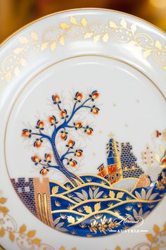 The Miramare Castle is a castle, built for Austrian Archduke Maximilian Habsburg and his wife. Painted with the harmony of rich gold and oriental blue. Maximilian I, Archduke, Royal Garden, Coffee Set, Dinner Sets, Modern Luxury, Good Company, Dinner Plates, Tea Set