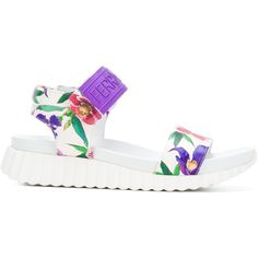Salvatore Ferragamo floral-print velcro sandals (28.520 RUB) ❤ liked on Polyvore featuring shoes, sandals, white, salvatore ferragamo shoes, velcro shoes, leather shoes, white leather sandals and colorful sandals