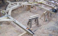 #oak framed bay in our workshop at Castle Ring Oak Frame