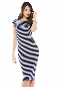 Navy Stripe Dress via shopmodmint.com