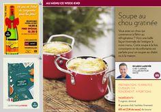 Soupe au chou gratinée - La Presse+ Ricardo Recipe, Menu, Soup Recipes, Tableware, Kitchen, Food, Cream Soups, Sprouts, Garlic