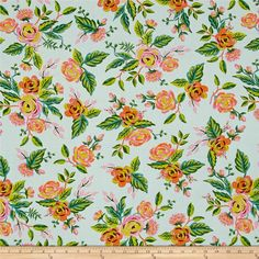 Cotton Steel Rifle Paper Co. Menagerie Rayon Jardin De Paris Mint from @fabricdotcom Designed by the famous Rifle Paper Co. for Cotton Steel, bold colors meet whimsical botanicals in this gorgeous collection. This lightweight rayon challis fabric has a smooth luxurious hand and soft, liquid drape. Perfect for fuller skirts & dresses, blouses, shirts, scarves and tunics. Colors include aqua, shades of green, teal, orange, bubblegum pink, and blush.