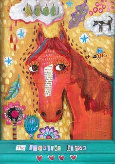 Folk Art Horse Mixed Media in Frame por evesjulia12 en Etsy