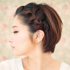 Braids on short hair, so cute. French Braid via @byrdiebeauty
