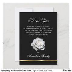 Sympathy Memorial White Rose Black Gold PHOTO Thank You Card Sympathy Thank You Cards, Funeral Thank You Cards, Thank You Card Size, Photo Thank You Cards, Custom Thank You Cards, Wedding Thank You Cards, Custom Cards, Photo Cards, White Rose Flower
