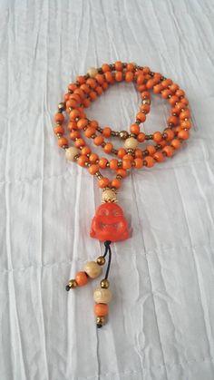 Buddha Meditation, Spiritual Jewelry, Wooden Beads, Round Beads, Tassel Necklace, Crafty, Orange, Etsy