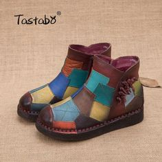 e84999e317d0 Tastabo Autumn Ankle Boots Round Toe Handmade Cow Leather Flat shoes Casual  soft comfortable Ladies Martin Boots large size
