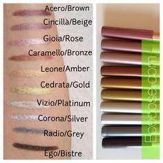Luminosi, cangianti, shimmer. Pastello Neve Cosmetics a confronto. #ecobio #ecocose #makeup #cosmesiecobio #nevecosmetics