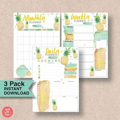 Check out this pineapple printable planner pack! It's perfect for organizing your daily, weekly and monthly activities. Print it as many times as you like for any month of any year - a great way to start 2017. The printable calendar is also a great organization tool for kids, family and school. Printable Calendar | Printable Planner | Planner Organization Printables | Printable Calendar 2017 | Printable Calendar Monthly | Daily Planner | Printable Calendar School.