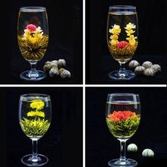 4 Balls Beautifull Different Handmade Blooming Flower Green Tea Gift High-End
