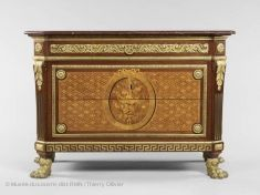 """Commode, Delivered in its architectural character and bronze decoration make it typical of the """"Greek"""" style in vogue in the Oak frame; veneer of sycamore, rosewood and kingwood; French Furniture, Classic Furniture, Furniture Styles, Antique Furniture, Furniture Design, Art Furniture, Italian Furniture, Traditional Furniture, Louvre Museum"""