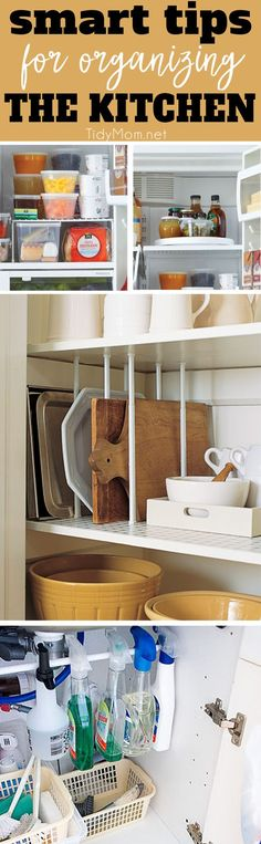 What makes a great kitchen is how you organize it. Learn 8 smart organizing tips to help you get your kitchen organized in no time! Smart Organizing Tips for the Kitchen at TidyMom.net