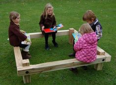 Easily accomodating 8 - 10 children, the buddy bench offers a quiet