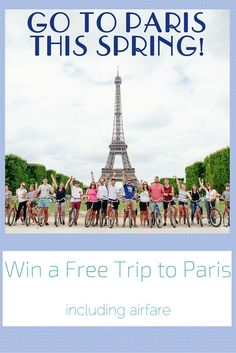 Enter to win a FREE Trip to Paris from Fat Tire Paris Bike Tour.   Includes: round trip airfare, airport shuttle, 5 nights at the Fat Tire Flat, customized itinerary, tour of Paris aboard an old fashioned 2CV and a Gourmet Picnic!!!