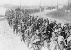 German troops on the move/1916. Note - some still have the haube.