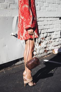 Stunning coral lace dress + nude heels