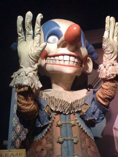 I'm so afraid of clowns and clown puppets and dolls are no exception.  They scare the **** out of me.