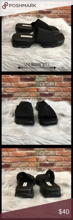 Steve Madden Vintage 90's Slinky Slide Sandals Steve Madden vintage 90's black slinky slide sandals in a size 9.5.  Iconic 90's style.  They have an elastic black stretch top and hard rubber soles.  In excellent condition. Steve Madden Shoes Sandals