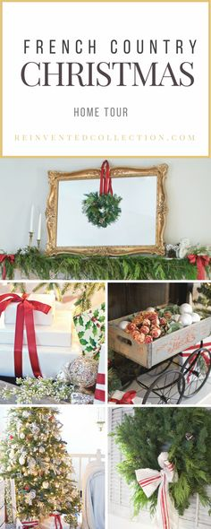 French farmhouse traditional color Christmas ideas from Reinvented Collection.   #christmasdecor #frenchfarmhousechristmas #frenchcountrychristmas