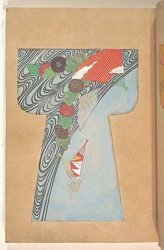 Illustrations from a book of painted kosode designs (Japan, second half of the century). Ink, colour, gold, and silver on paper. Images and text information courtesy The Met. Japanese Textiles, Japanese Fabric, Japanese Kimono, Kabuki Costume, Kimono Japan, Traditional Japanese Art, Kimono Pattern, Asian Design, Edo Period