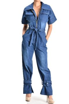 """Love Denim"" Relaxed Fit Wide Leg Jumpsuit with a large collar and zipper front comes with a belted waist tie. The Wide leg pants have a fastened buckle around the leg and functional pockets. Model is"