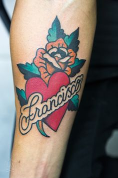 rose, heart, script traditional tattoo by Javier Rodriguez