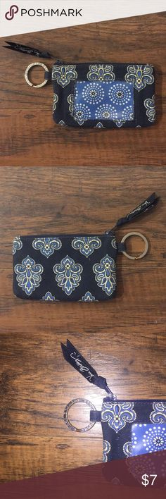 """Vera Bradley Zip-ID Case Pretty good condition, lightly used. In the pattern """"Calypso"""". Clear plastic front ID window, zipper top. With silver key ring and inner pocket for cards and cash. Vera Bradley Accessories Key & Card Holders"""