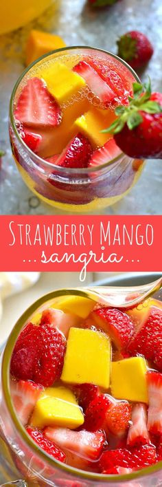 [ad This Strawberry Mango Sangria combines so many summer favorites in one delicious drink! Perfect for parties, ladies& nights, or lazy summer weekends, this sangria is destined to become your new goto drink! Refreshing Drinks, Fun Drinks, Yummy Drinks, Yummy Food, Tasty, Beverages, Mixed Drinks, Alcohol Drink Recipes, Sangria Recipes