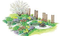 Durch die Feuerstelle wird der abschüssige Hang zum neuen Lieblingsplatz im Garten