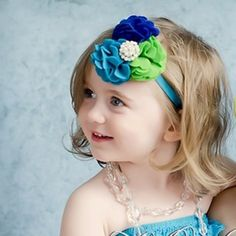 Felt Flower Headband Green Peacock Blue & Royal Blue with Pearls and Rhinestone    Sale! Price: $8.99 On Sale: $6.49