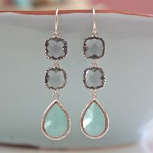 Tiffany Blue & Grey Dangle Earrings