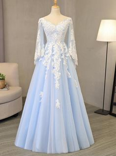 V Neck Light Blue Tulle Prom Dress Lace Appliques A-line Eve.-V Neck Light Blue Tulle Prom Dress Lace Appliques A-line Evening Gowns V Neck Light Blue Tulle Prom Dress Lace Appliques A-line Evening Gowns - Prom Dress Black, Gold Prom Dresses, Prom Dresses Long With Sleeves, Prom Dresses For Sale, Tulle Prom Dress, Quinceanera Dresses, Sexy Dresses, Cute Dresses, Dress Outfits
