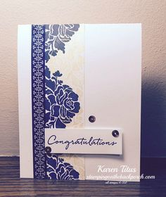 A CAS (clean and simple) card using the Floral Phrases stamp set. Classy look in navy and white Wedding Anniversary Cards, Wedding Wishes, Stampin Up Anleitung, Screen Cards, Homemade Greeting Cards, Stampin Up Catalog, Stamping Up Cards, Congratulations Card, Paper Cards