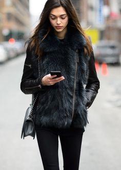 chanel boy bag, black skinny jeans, fur and leather black jacket