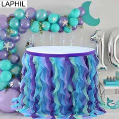 Under the Sea Party Blue Pink Tulle Table Skirt Wedding Table Decor Baby Shower Gender Reveal Suppli Mermaid Theme Birthday, Little Mermaid Birthday, Little Mermaid Parties, Blue Birthday, Baby Girl Birthday, Mermaid Baby Showers, Baby Mermaid, Baby Shower Mermaid Theme, Mermaid Art