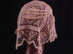Antique Lace Wedding Head Piece Veil with by littlebitvintage2, $75.00