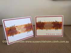 I love this new 'Fallen Leaves' stamp set from Close To My Heart! Other products used - gold embossing powder, daubers, and Ruby, Autumn Terracotta, and Honey inks www.susanchisholm.ctmh.com.au