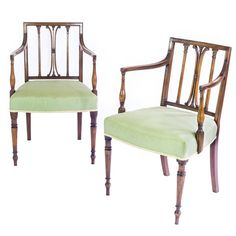 Fine Pair of 18th Century George III Sheraton Mahogany Armchairs | From a unique collection of antique and modern armchairs at https://www.1stdibs.com/furniture/seating/armchairs/