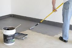 How to coat your garage floor or concrete for a clean look and big difference! D… How to coat your garage floor or concrete for a clean look and big difference! Durable and easier than epoxy, Behr Premium Granite Grip is as easy to apply as rolling paint. Painted Garage Walls, Garage Floor Paint, Painted Floors, Garage Flooring, Garage House, Diy Garage, Garage Doors, Garage Ideas, Garage Epoxy