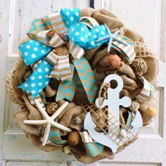 Nautical Wreath Summer Wreath Burlap Beach Wreath by JennaBelles