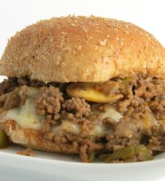 Cheesesteak Sloppy Joesis an easy ground beef recipe that give you all the wonderful flavors of a Philly Cheesesteak with peppers, onions, and cheese.