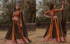 India's Most Loved Chaniya Choli Designs for Navratri - LooksGud.in yellow and green block printed chaniya choli with embroidered hem Gujarati Chaniya Choli, Navratri Dress, Garba Dress, Choli Dress, Saree Blouse, Sari, Choli Blouse Design, Choli Designs, Blouse Designs