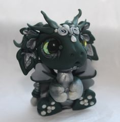 Fussy Bitty Green and Silver Baby Dragon