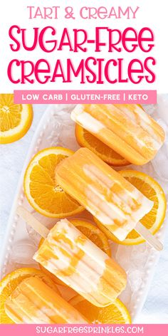 Sugar-free creamsicles that pop with orange flavour, without using orange juice. We turned a classic into a low carb, keto friendly treat. Sugar Free Desserts, Sugar Free Recipes, Low Carb Desserts, Low Carb Recipes, Primal Recipes, Sugar Free Ice Cream, Low Carb Ice Cream, Keto Snacks, Diabetic Snacks