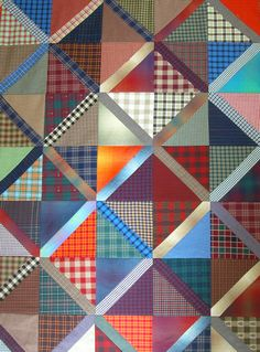 pretty use of shirting plaids would be a great memory quilt idea for someone who wanted to make a quilt from shirts of their loved ones. Could use the button placket on the diagonal for add'l texture Flannel Quilts, Plaid Quilt, Striped Quilt, Boy Quilts, Scrappy Quilts, Shirt Quilts, Quilting Tips, Quilting Projects, Quilting Designs