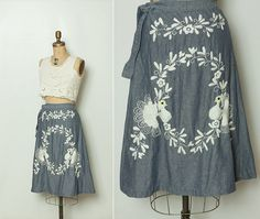vintage 1970s embroidered wrap skirt by StopTheClock on Etsy